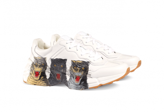 Gucci White Leather With Tiger Face Print